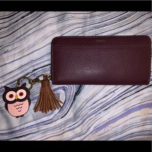 Fossil TARA zip around leather wallet in FIG - NEW